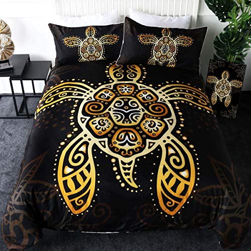 Sleepwish Boho Sea Turtle Bedding Tribal Honu Duvet Cover 3 Pieces Intricate Gold Swirls Tortoise Animal Print Black Bedspread -