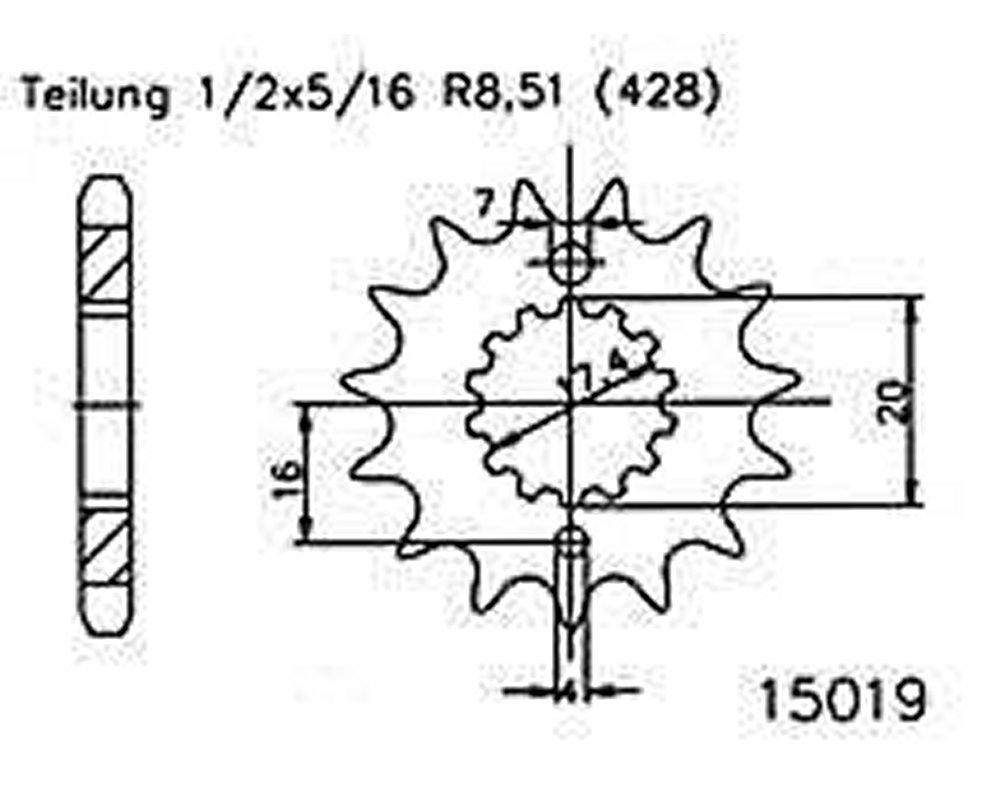 1//2x5//16 Ritzel 16 Z/ähne Stahl 428er Teilung f/ür Yamaha DT 125 R 1999-2006