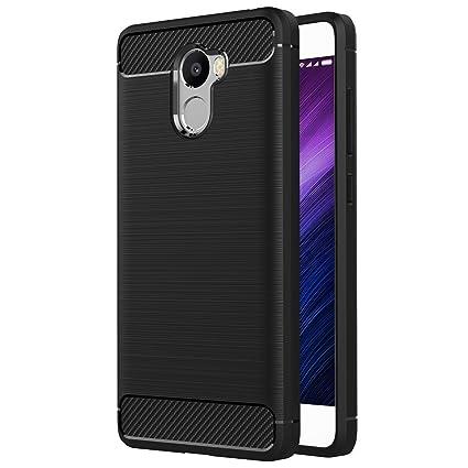 MaiJin Funda para Xiaomi Redmi 4 (5 Pulgadas) TPU Silicona Carcasa Fundas Protectora con Shock Absorción y Diseño de Fibra de Carbon (Negro)