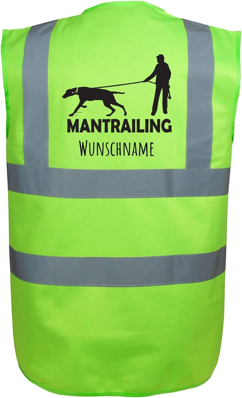 Motiv 8 Gr/ün S Mantrailing Hundesport Warnweste Sicherheitsweste mit Namen oder Text personalisiert