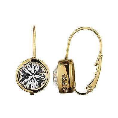 Dyrberg/Kern Madu RG Crystal 334720 Woman's Pendant Earrings Gold-Plated Metal ByMOHkweE