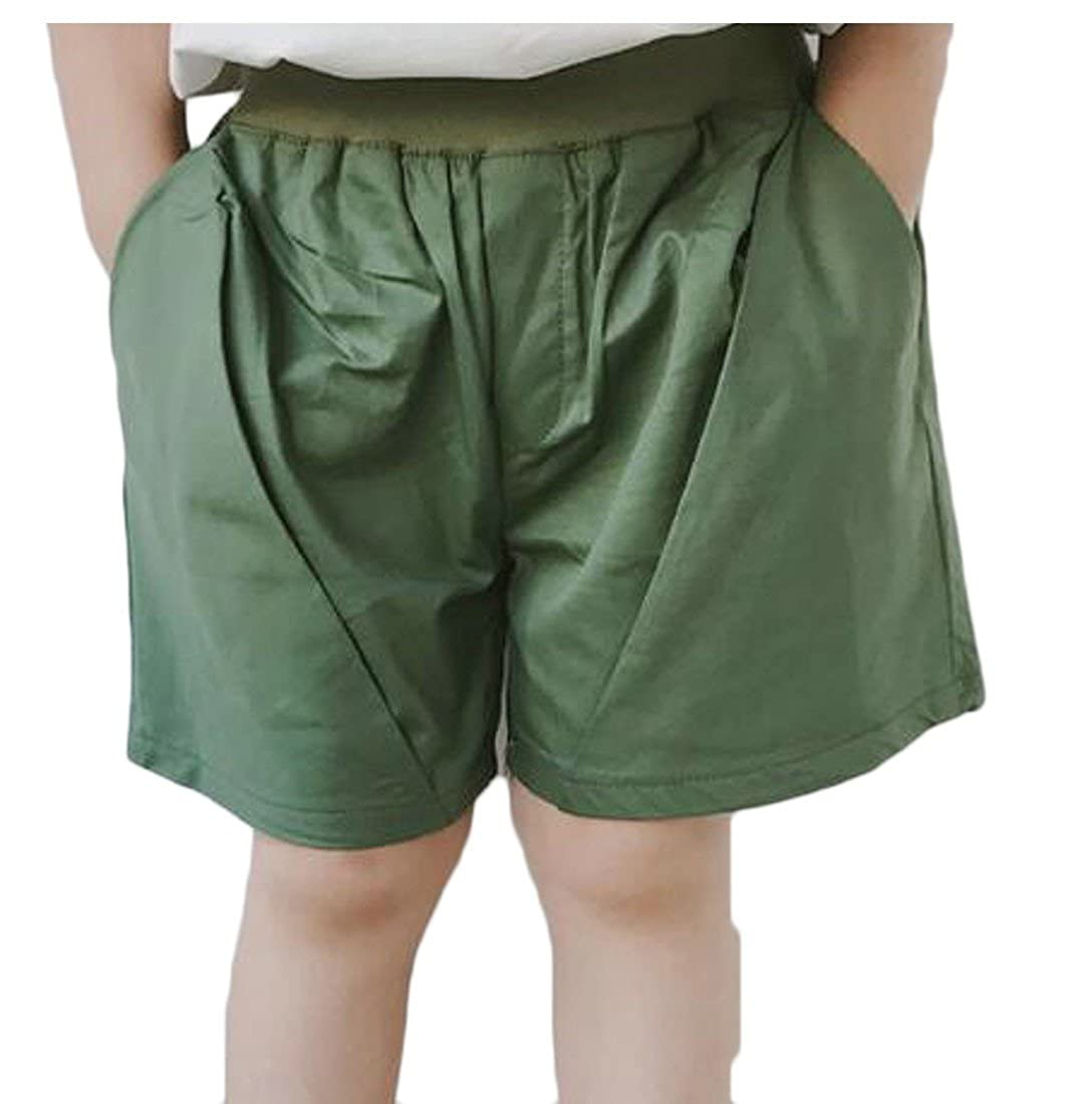 Cromoncent Toddler Boy Elastic Waist Cotton Wide Leg Loose Fit Relaxed Fit Cargo Shorts