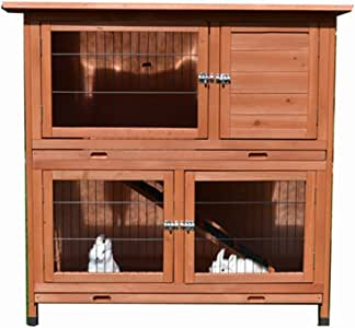 Large Classic Double Story Rabbit Hutch with Double Trays P056
