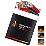 """Kuuqa Upgrade Version 15*11"""" Non-itchy Fire Resistant Document Bag, Fiberglass with Silicone Coated Fireproof Pouch for Bank File /Passport/ Photo Album/ Important Documents"""