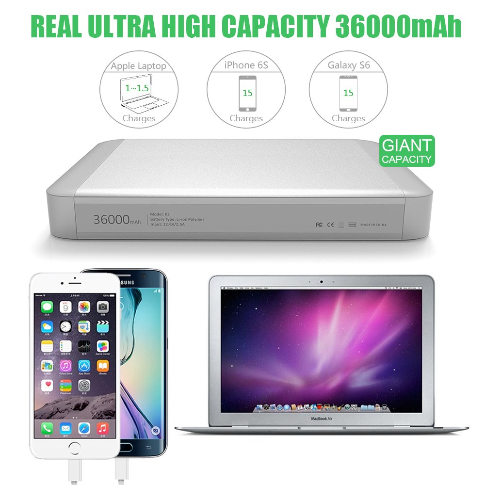 MAXOAK 36000mAh USB-C Type C Power Bank for MacBook / MacBook Pro / MacBook Air 11/12/13 Inch Portable Charger External Battery Pack (5/9/12/14.8V/16.8V) for Apple Laptop Notebook iPhone iPad & More by MAXOAK (Image #3)