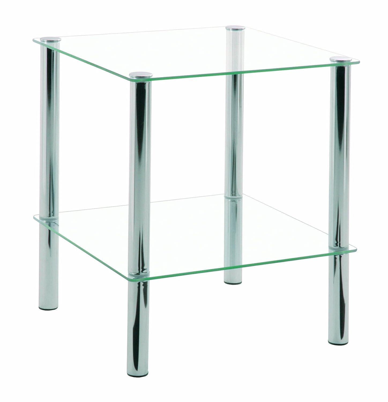 Mesa transparente auxiliar de acero cromado y vidrio templado. Con dos estantes para mas comodidad.