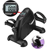 Belovedkai Arm and Leg Pedal Exerciser with LCD Display Mini Exercise Bike Indoor Fitness Cycling Resistance Adjustable (Black)