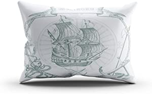 Moladika Throw Pillow Cover 12x20 Inch Boudoir Adventure Stories Pirate Background Vintage Border Cushion Home Decor Living Room Sofa Bedroom Office One Side Design Printed Pillowcase