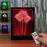 3D Rose Night light 7colors Visual Illusion Lamp Remote Control Lamp Kids Living/bedroom Table/desk Led Photo Frame Light