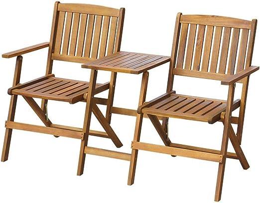 Wakects - Banco con mesa de jardín, banco exterior de 2 plazas plegable con mesa de madera, banco plegable de jardín exterior de madera con respaldo y reposabrazos, 140 x 60 x