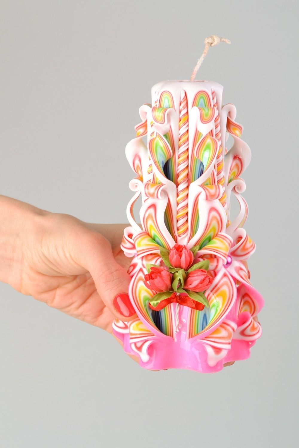 Amazon com large handmade colorful carved paraffin candle interior design ideas home kitchen