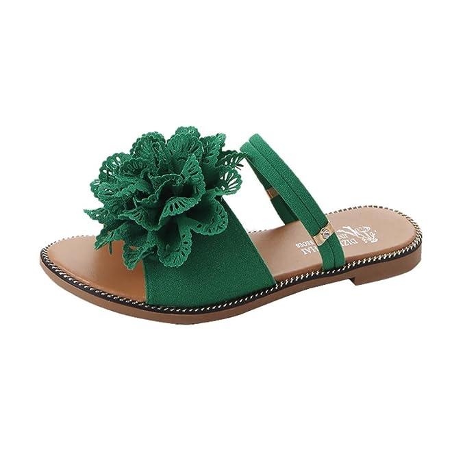 5a0e7498e WOCACHI Vanlentine Day Women Shoes Summer Solid Color Flower Flat Heel  Sandals Slipper Beach Shoes Green