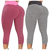 2 Pack Texture Leggings High Waisted Yoga Pants for