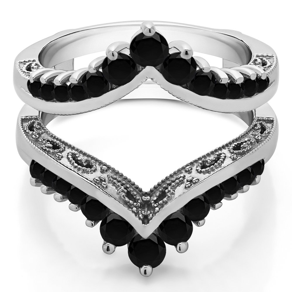 TwoBirch 0.98 ct. Black Cubic Zirconia Filigree Vintage Wedding Ring Guard in Sterling Silver (0.98 ct.)