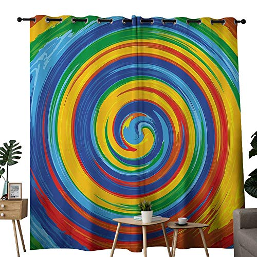 LewisColeridge Decor Curtains by Rainbow,Vivid Swirls Whirlpool Rainbow Colored Hand Drawn Artwork Optical Illusions Grunge,Multicolor,Wide Blackout Curtains, Keep Warm Draperies, Set of 2 - Optical Wheel 96