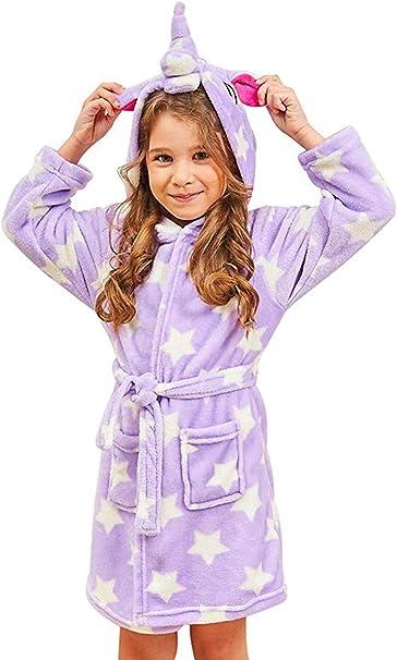 Ruiuzioong Accappatoio Morbido Per Bambini Unicorno Pigiama In Pile Con Cappuccio Vestaglia Lussuosa Caldo Indumenti Da Notte Comodi Carino Loungewear Vestaglia