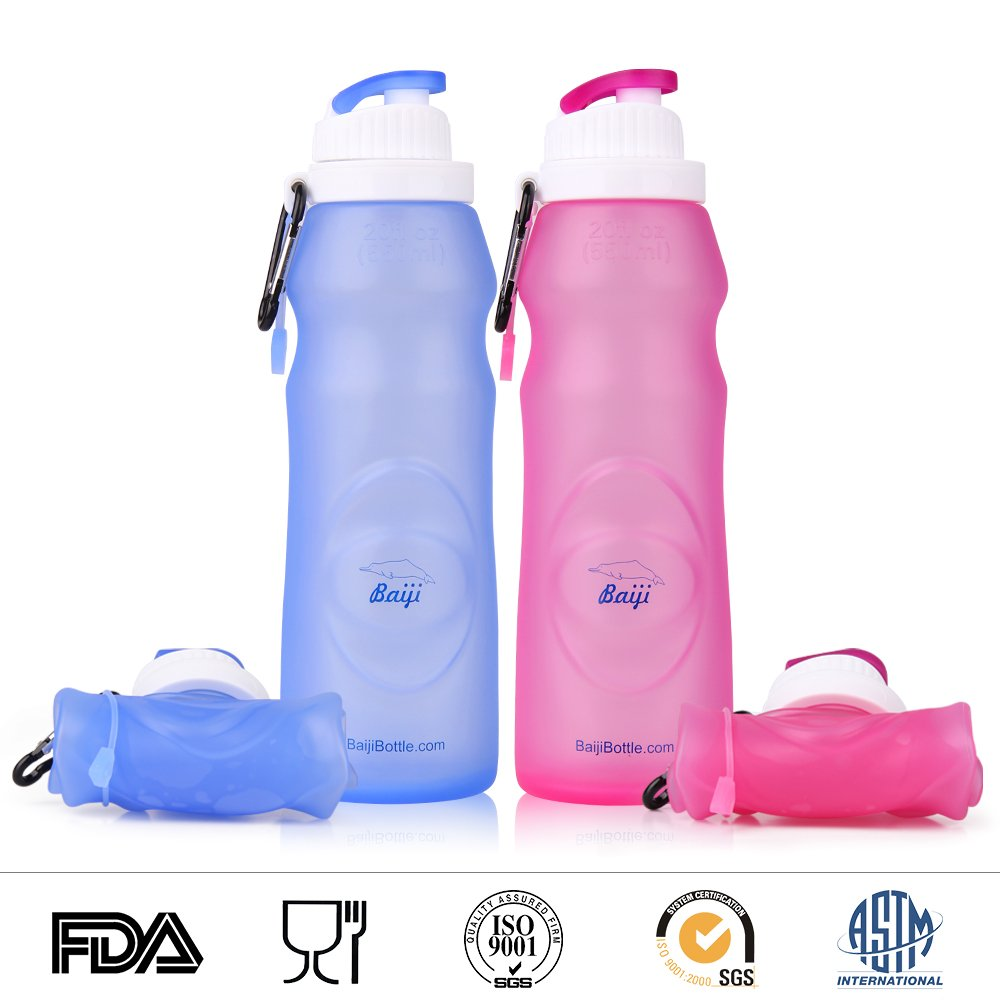 Baiji Bottle Collapsible Silicone Water Bottles - Sports Camping Canteen 20 Oz. - Easy To Clean And Store by Baiji Bottle