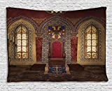 Gothic Decor Ambesonne Gothic House Decor Collection, Red Medieval Throne in Chapel Eagle Portrait on Wall Ancient Fantasy Church Print, Bedroom Living Room Dorm Wall Hanging Tapestry, 80 X 60 Inches, Red Brown
