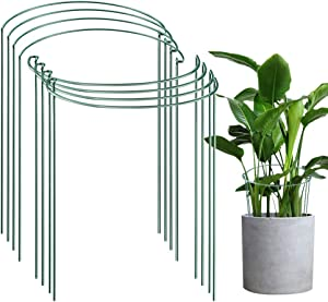 """MATTE 8 Pack Half-Round Plant Supports Ring Cage Tidy Up Borders and Pathways Prevent Flopping Flowers,10"""" Wide x 15.8"""" High"""