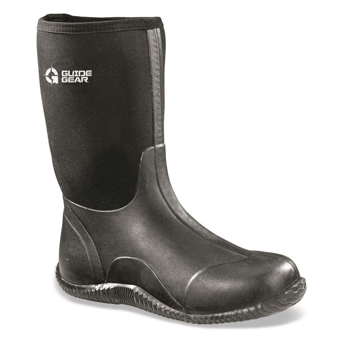 Guide Gear Men's Mid Bogger Waterproof Rubber Boots, Black, Black, 10D (Medium)