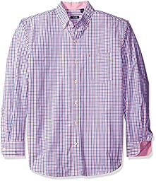 IZOD Men\'s Long Sleeve Essential Tattersal Button Down Woven Shirt, Rapture Rose, X-Large