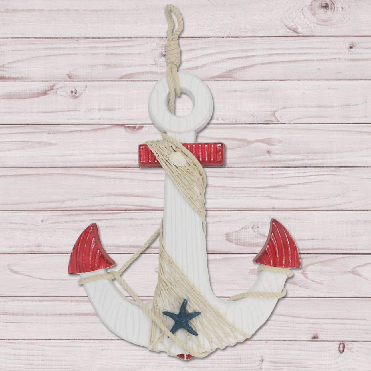 Sunnyglade Large Anchor Wall Decor Wall Hanging Ornament Wooden Nautical Anchor with Rope (Red)