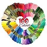 #8: Homder Cross Stitch Floss 100 Skeins Premium Rainbow Color Embroidery Floss Sewing Threads