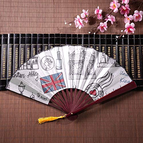 JXCSGBD Folding Fan Wall Art London Streets Colorful Big Ben Tower with Bamboo Frame Tassel Pendant and Cloth Bag Paper Fan Chinese Hand Personal Fan Japanese Accessories Fan ()