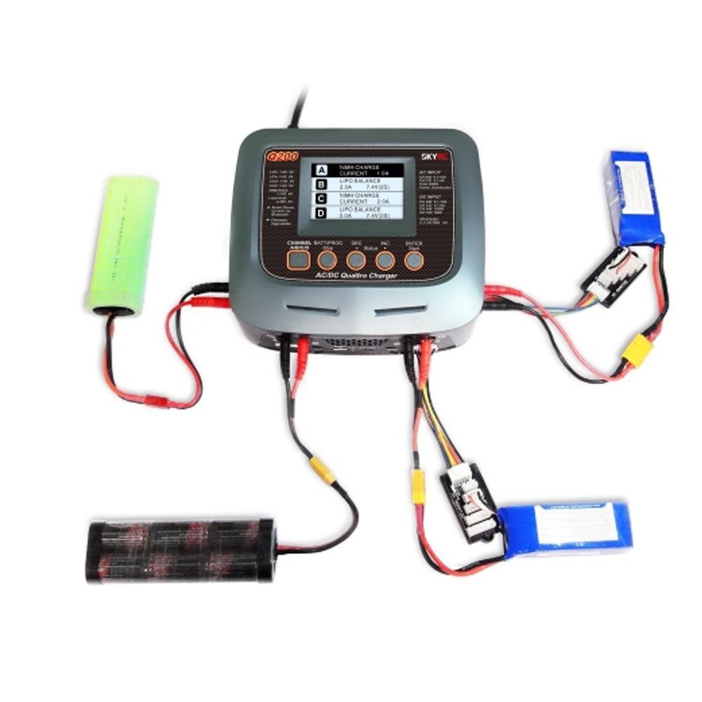 SKYRC Q200 Quattro Battery Balance Charger AC/DC 2X100W 2X50W 10A 1-6s for RC Batteries