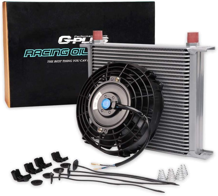 30 Row AN10-10AN Oil Cooler Universal Engine Transmission Aluminum Black Black