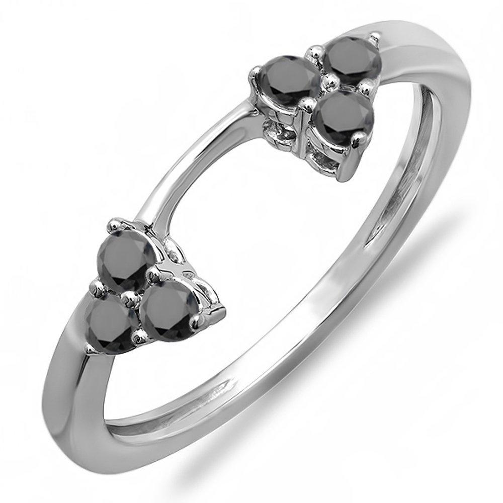 Dazzlingrock Collection 0.30 Carat (ctw) 10K Round Black Diamond Wedding Ring Matching Guard Band 1/3 CT, White Gold, Size 7
