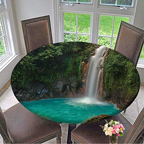 Mikihome Luxury Round Table Cloth for Home use Rio Celeste Waterfall Photographed in Costa Rica for Buffet Table, Holiday Dinner 47.5