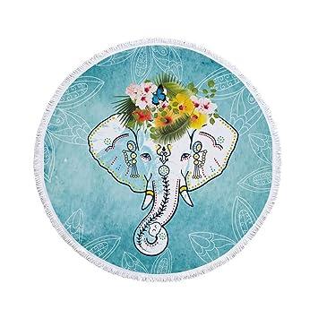 JUNYZSTJ Elefante Verano Grandes Microfibras Impresas Toallas De Playa Redondas con Borla Bohemia Toallas De Baño Chal Estera Gruesa (150 Cm), ...