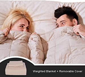 "CJXM King Size Weighted Blanket & Cover (22 lbs,82""x87"",16 Loops,400 Thread Count) 3.0 Luxury Cotton Heavy Blanket Weighted for Couples,Adults, Queen/King Size Bed"