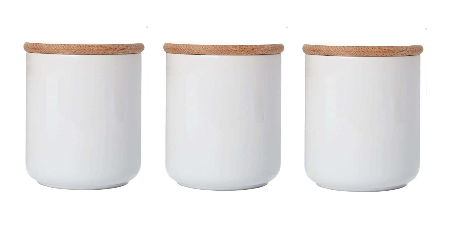 White kitchen canisters ceramic containers with wood lids food storage jars with airtight lids salt sugar container tea coffee spice jars 22floz 3 piece set