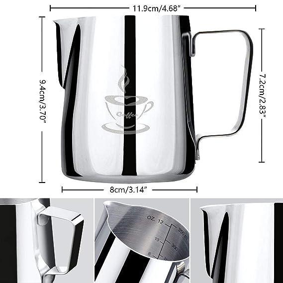 Jarra de leche de acero inoxidable 350 ml, Jarra con espuma de leche Tamaño perfecto para 2 tazas de Cappuccino, Máquina de café espresso, Pluma de café ...
