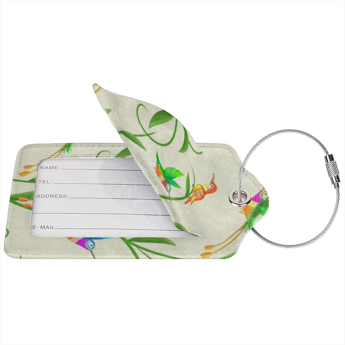 Colorful Hummingbird Tropical Bird Yellow Leather Luggage Tags Personalized Extra Address Cards With Privacy Flap