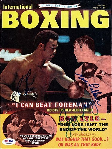 George Foreman, Gene Fullmer & Jerry Quarry Signed Magazi...
