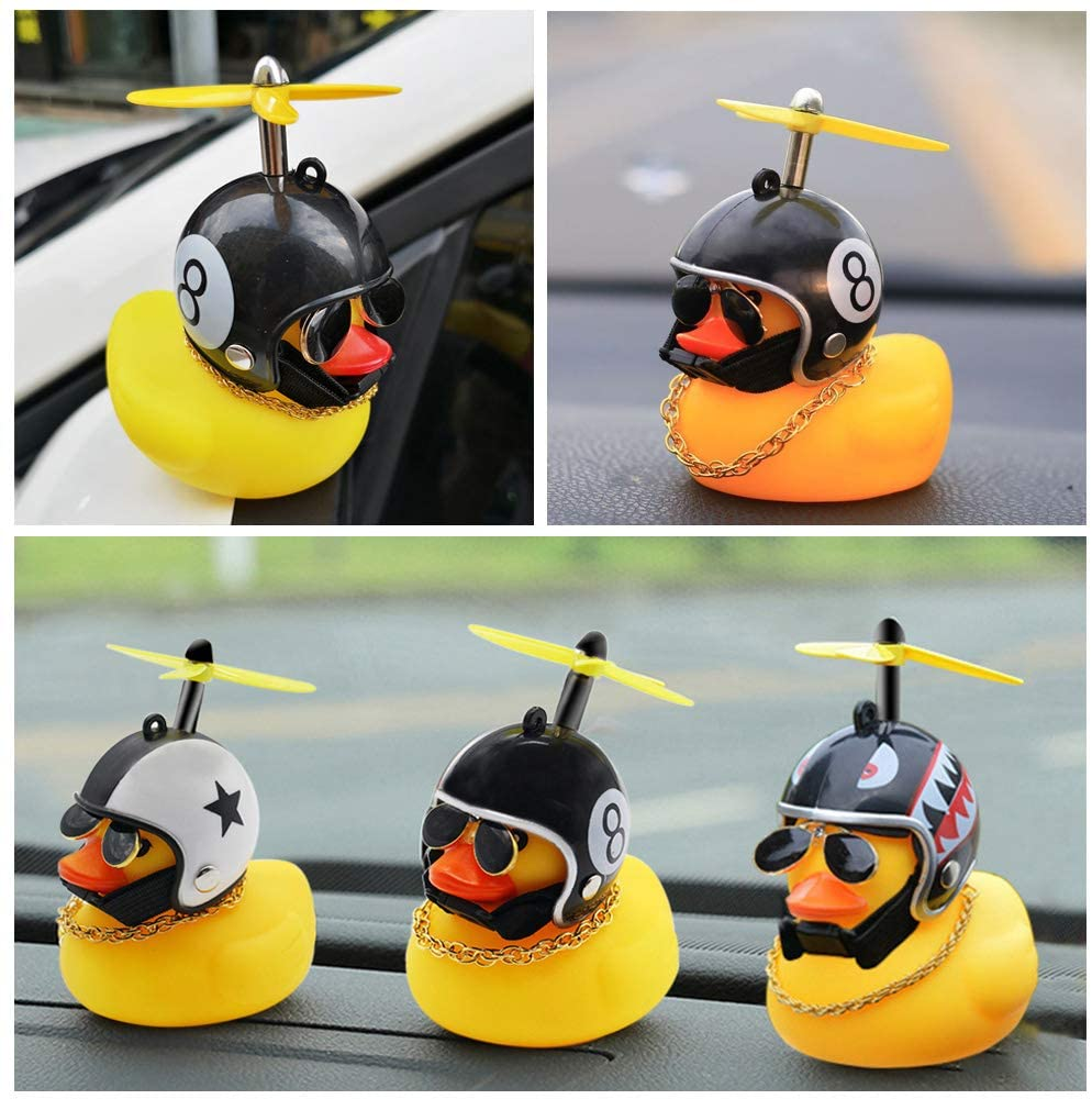 Yarssir Rubber Duck Toy Car Ornaments Yellow Duck Car Dashboard Decorations with Propeller Helmet for Adults Women Kids Men