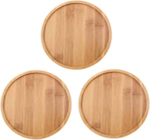 OYSIR 3 Pack Bamboo Plant Saucer,6 inch Succulent Cactus Planter Pot Tray Round Plant Pot Tray for Modern White Ceramic Flower Pot