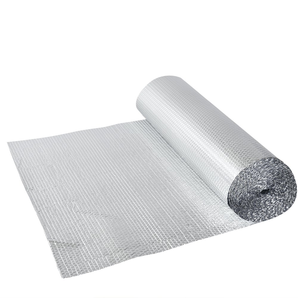 Britoniture 1.2m x 40m Double Aluminium Foil Bubble Insulation with Single Bubble Layer Floor Loft Wall Motorhome Boat Shed Silver BOCHEN