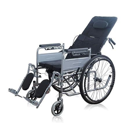 Silla de ruedas FANJIANI Plegable con Asiento Alto Respaldo Medio acostado Senior acostado Plano