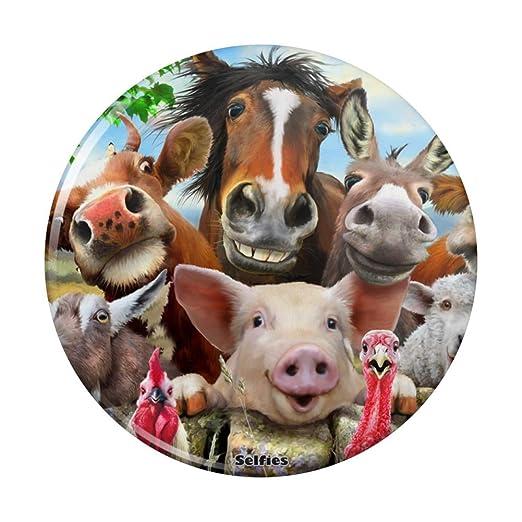 Imán para nevera con botón para selfie de granja, cerdo, pollo ...