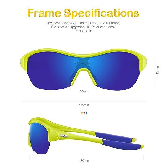 2fdf07b236 Amazon.com   TOREGE Tr90 Flexible Kids Sports Sunglasses Polarized Glasses  for Junior Boys Girls Age 3-15 Trk001 (Fluorescent Yellow Blue)   Sports    ...