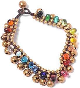 81stgeneration Women's Brass Gold Tone Rainbow Colour Glass Ankle Chain Anklet Bracelet, 25 cm