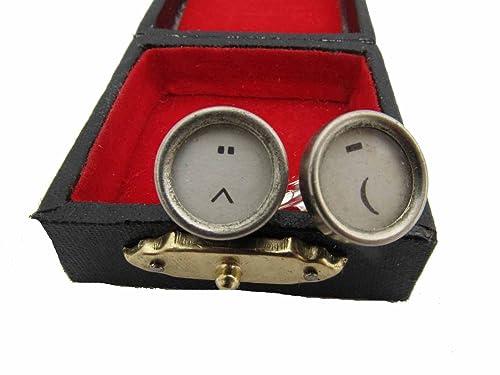 miniblings Mancuernas de Smiley máquina de Escribir Caracteres Blancos: Amazon.es: Joyería