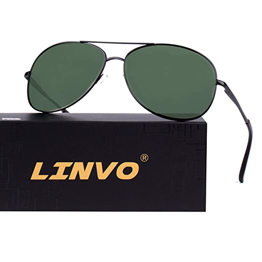 f9f8246037d Image Unavailable. Image not available for. Color  LINVO Classic Premium  Military Style Pilot Polarized Sunglasses for Men Women