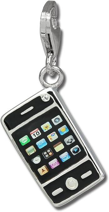 SilberDream exclusive Charms FC821S Charm smartphone noir en argent Charm pour charms colliers et bracelets Argent 925 Sterling