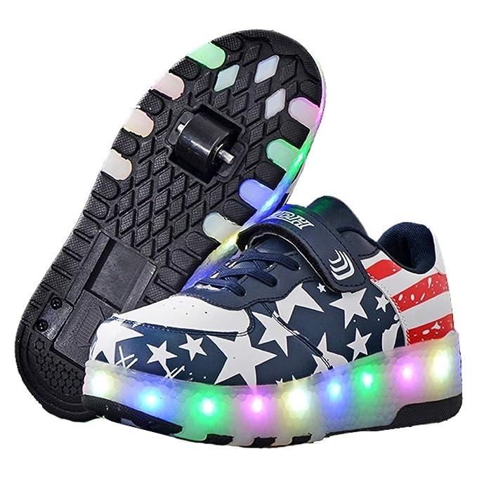 Recollect Zapatillas con Ruedas Unisex Niños, LED Luz Parpadea Deportes al Aire Libre Skateboard Sneaker Automáticamente Retráctiles Zapatos de Roller: ...