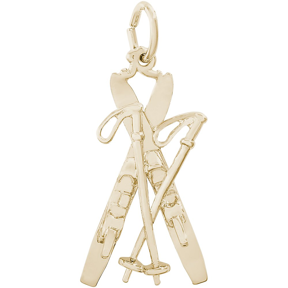 0ce4b41c3 Amazon.com: Rembrandt Charms Sterling Silver Downhill Skis with Poles Charm  (22 x 14 mm): Jewelry